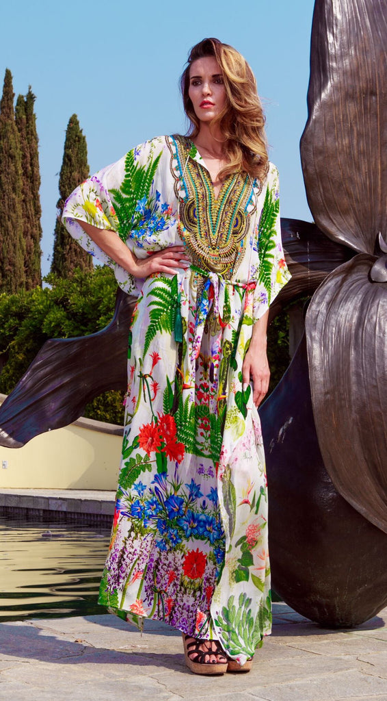 Green Floral Shahida Parides Kaftan Dress