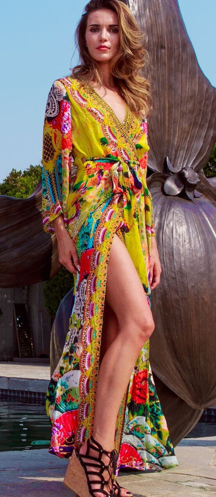 Lemon Drop Shahida Parides Wrap Dress