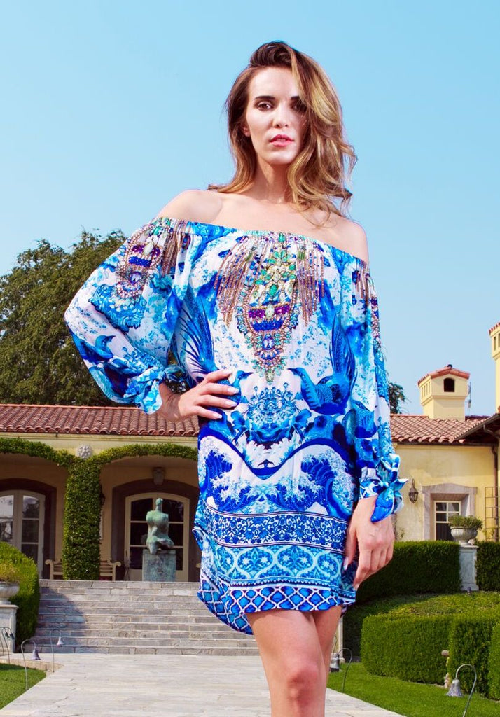 Blue Azure Off Shoulder Shahida Parides Dress