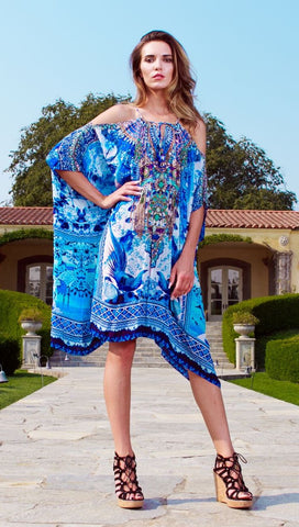 CO-502L Caviar Black Shahida Parides Kaftan Dress