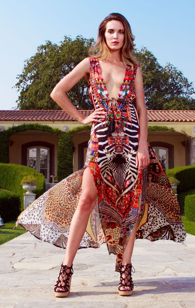 213L Double Slit Shahida Parides Maxi Dress