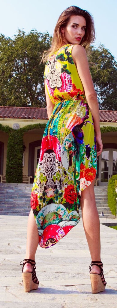 Floral Lemon Drop Shahida Parides Hi Low Dress