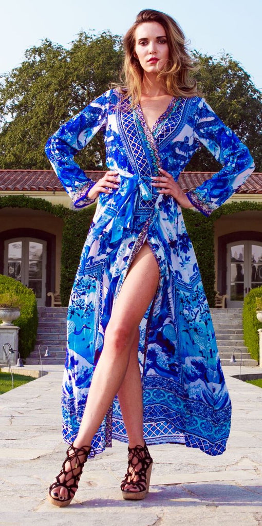 Azure Blue Shahida Parides Wrap Dress