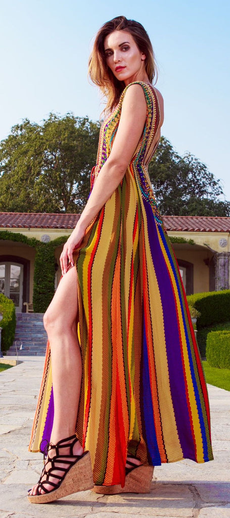 RAINBOW SHAHIDA PARIDES MAXI DRESS WORN BY PARIS HILTON