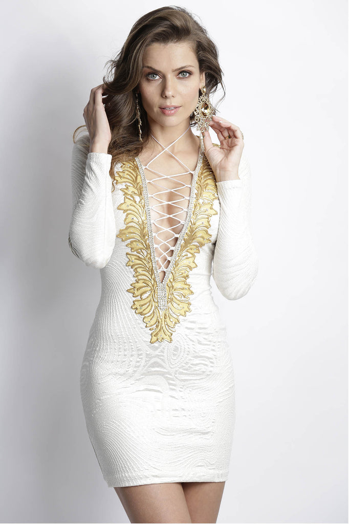 Zelyn Ivory Gold Baccio Couture Dress