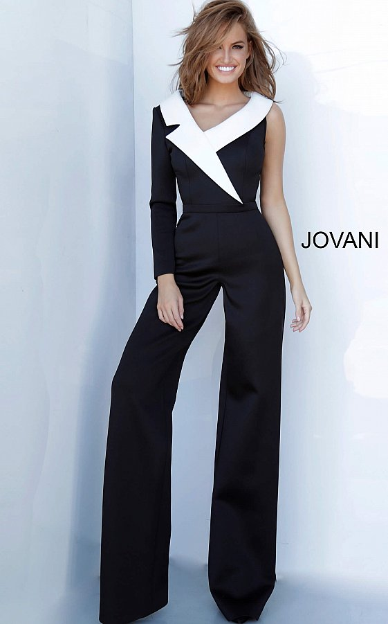 Jovani 3854 Black and White Scuba Jumpsuit