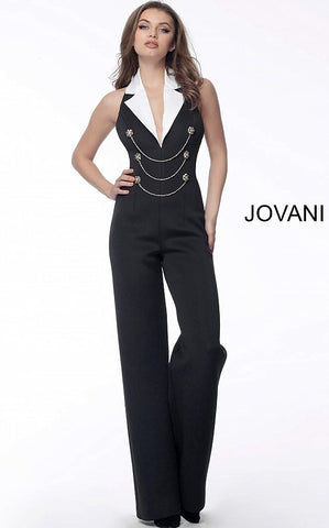 Black White Sequin Strapless Prom Jumpsuit 65397