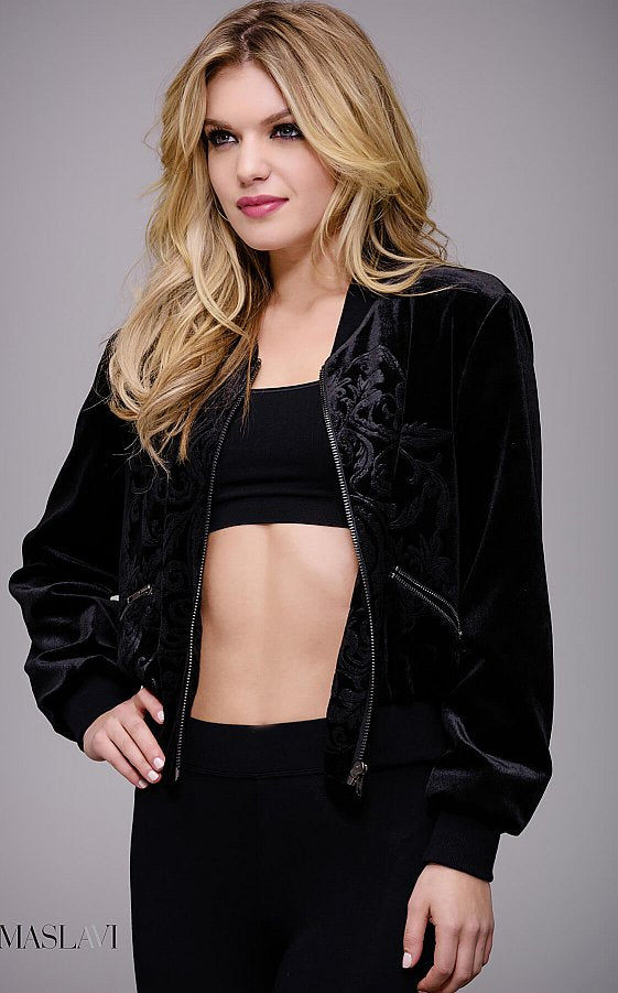 Black Embroidered Ready to Wear Bomber Jacket by Jovani M51285