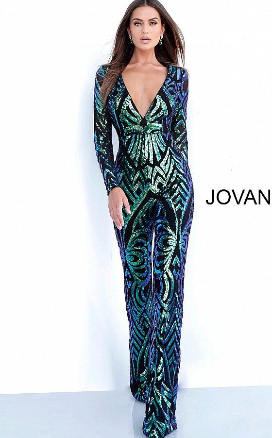 Black Peacock Embellished Long Sleeve Prom Jumpsuit 66511