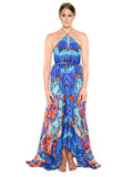 3 Way Blue Print Parides Maxi Dress