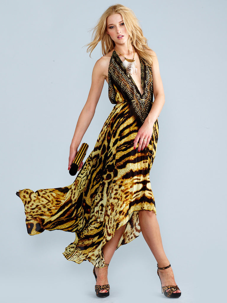 3 Way Tiger Print Parides Maxi Dress