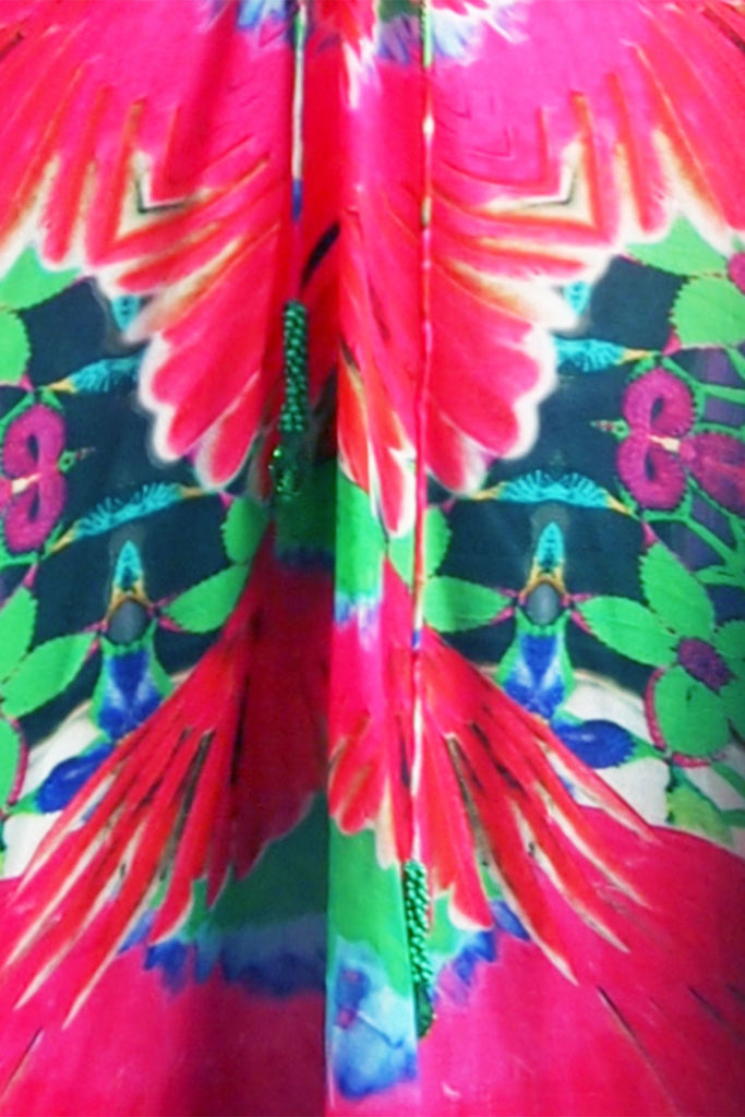 Tropical Fuchsia Luxury Short Kaftan Dress
