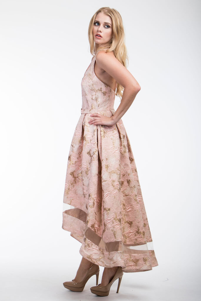 Adley Blush Halter High Low Nicole Bakti Dress