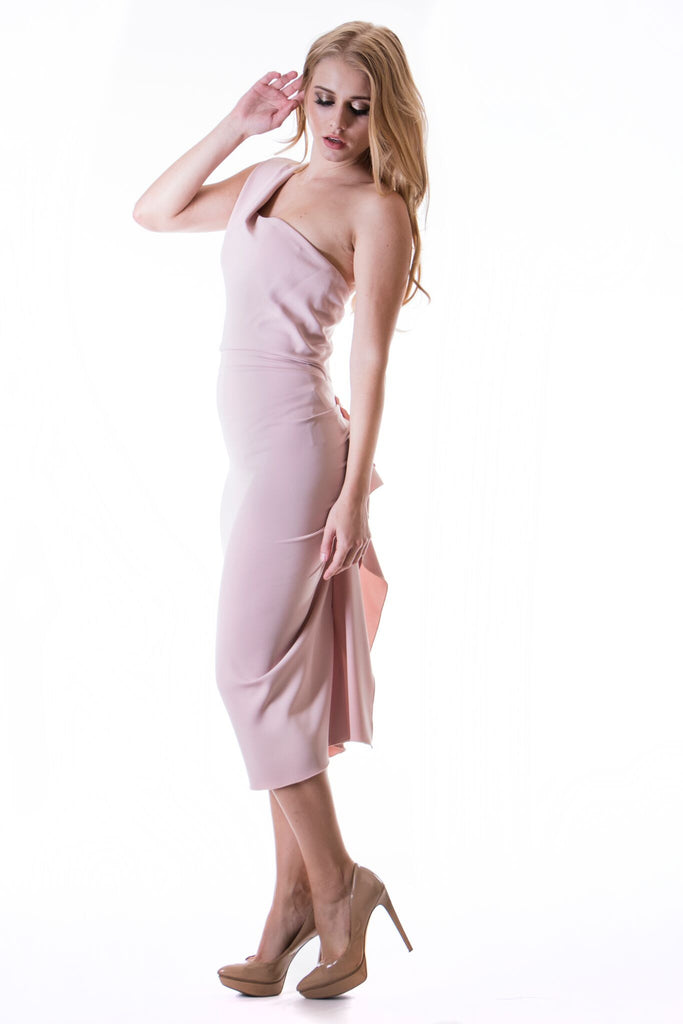 332 Blush One Shoulder Nicole Bakti Dress