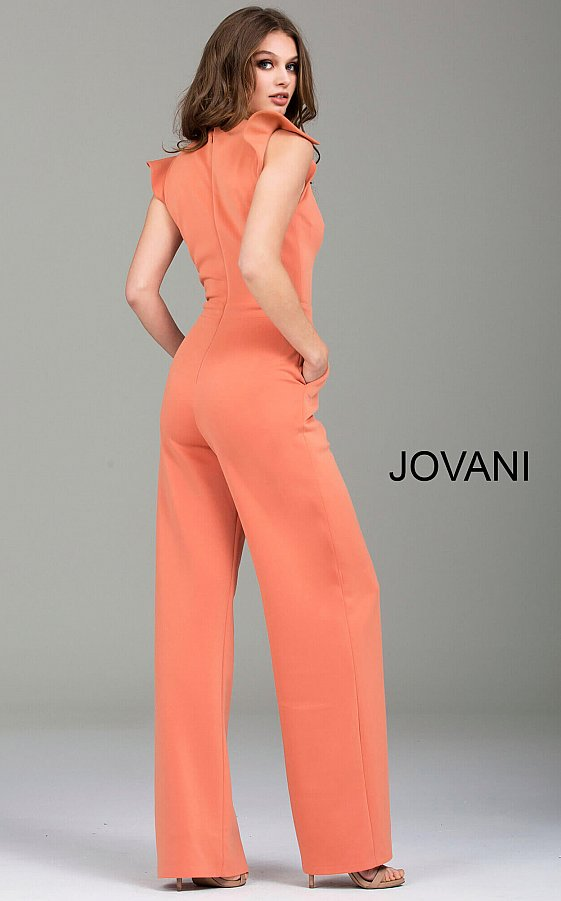 Jovani 57444 Apricot High Key Hole Neckline Fitted Jumpsuit
