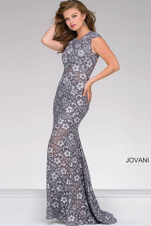 JOVANI 32020 LACE FITTED DRESS WITH OPEN BACK