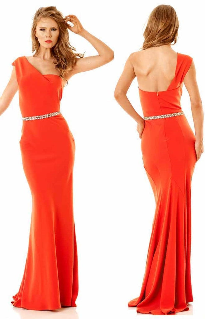 332LG Orange One Shoulder Nicole Bakti Gown