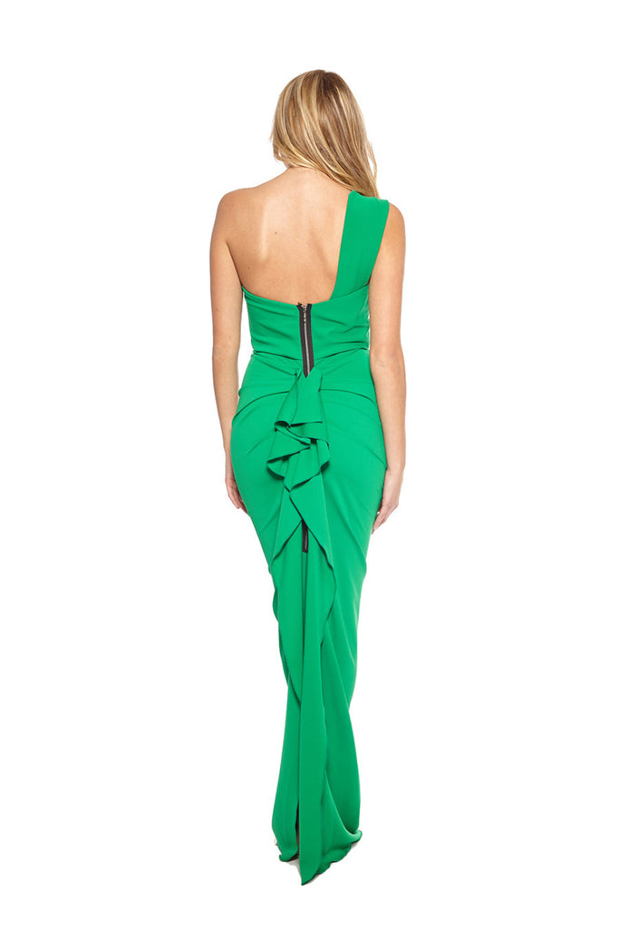 Nicole Bakti 332L One Shoulder Ruffle Back Dress