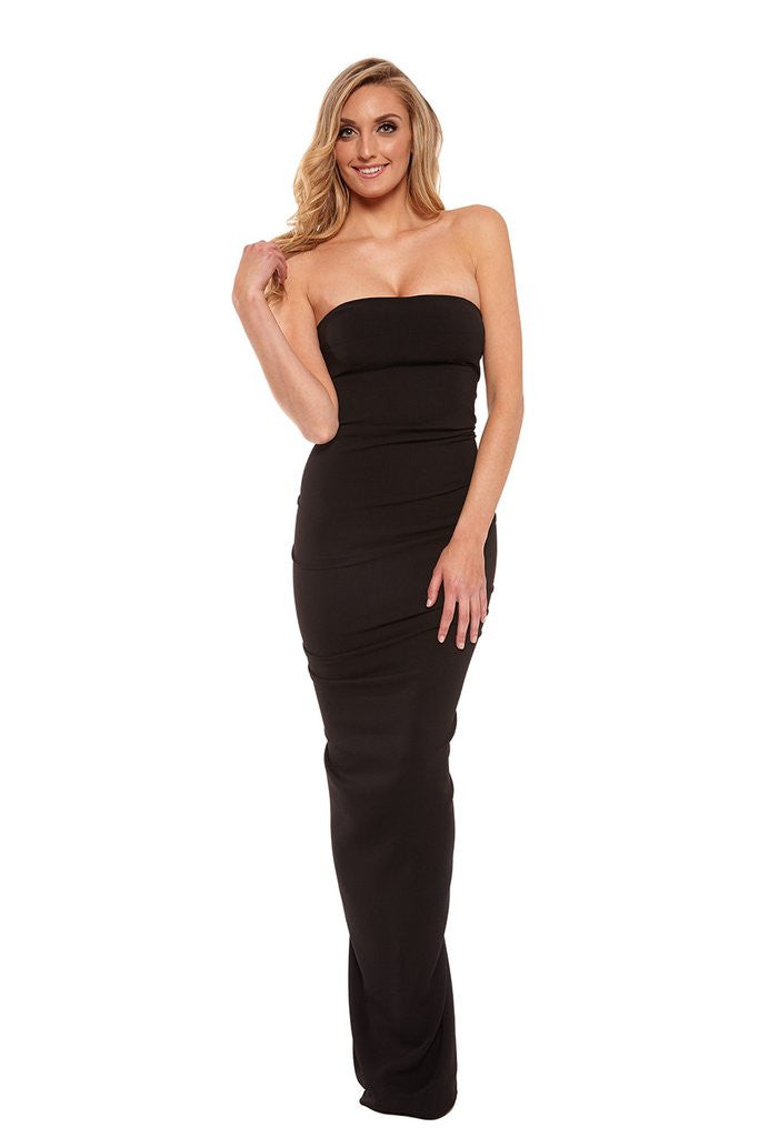 Nicole Bakti Fitted Gown With Ruffled Back Accent