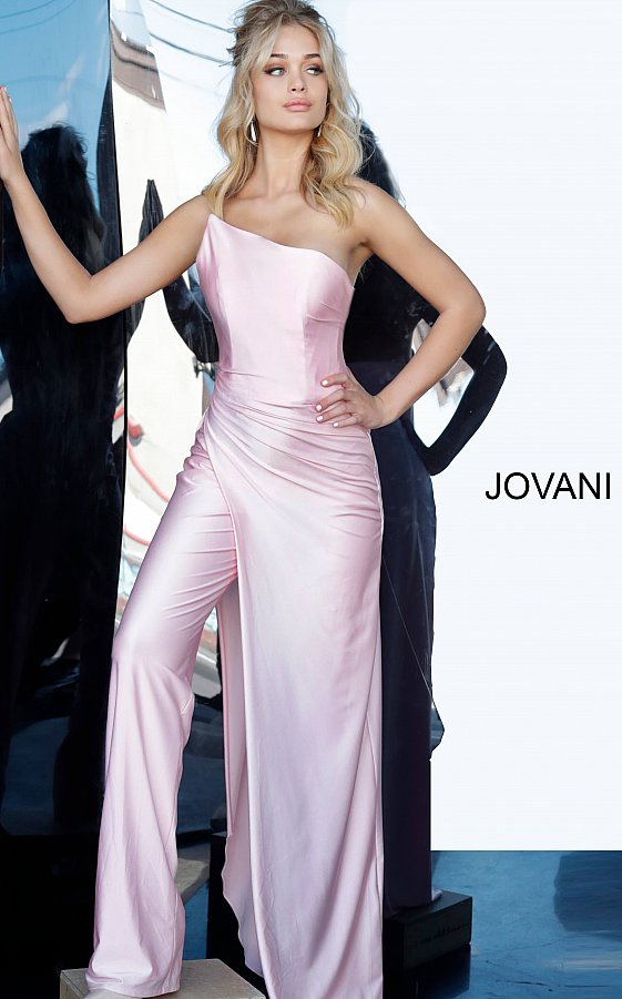 Jovani 68563 Light Pink Strapless Long Overskirt Jumpsuit