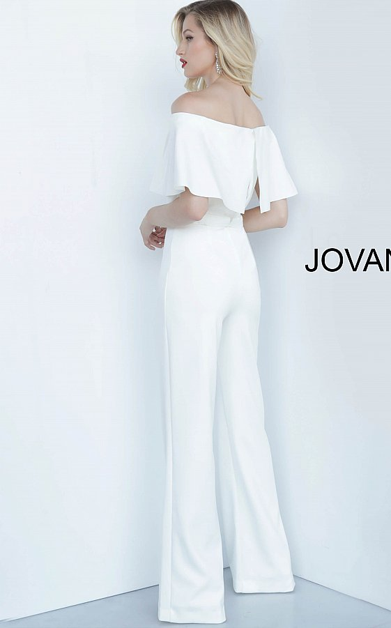 Jovani 68984 Off White Off the Shoulder Fitted Bodice Jumpsuit