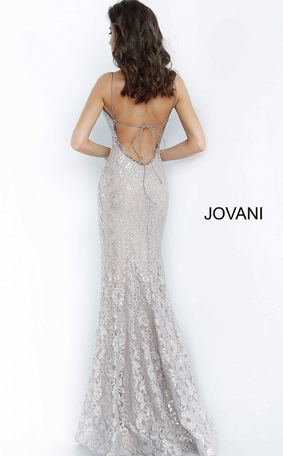 Silver Nude Spaghetti Straps Backless Jovani Prom Dress 00355