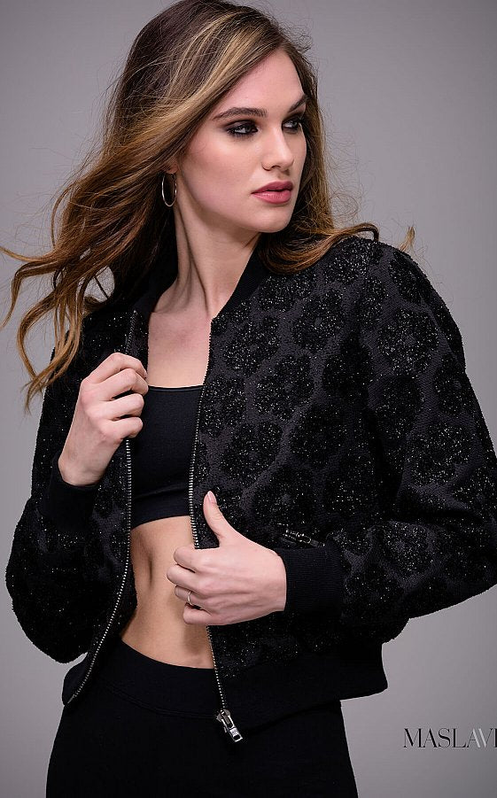 Black Embellished Ready to Wear Jacket by Jovani M52078