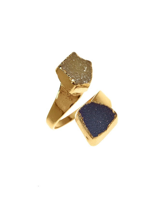 RGD-M2-BL-CH Double Druzy Adjustable Ring Charlene K Jewelry