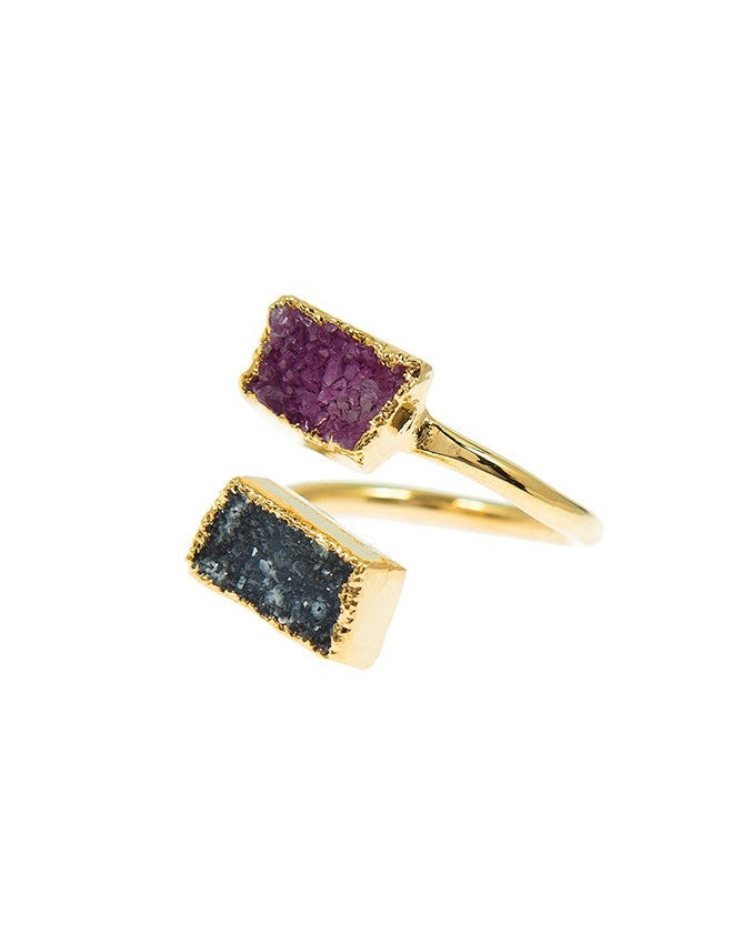 RGD-M2-BL-FU Double Druzy Adjustable Ring Charlene K Jewelry