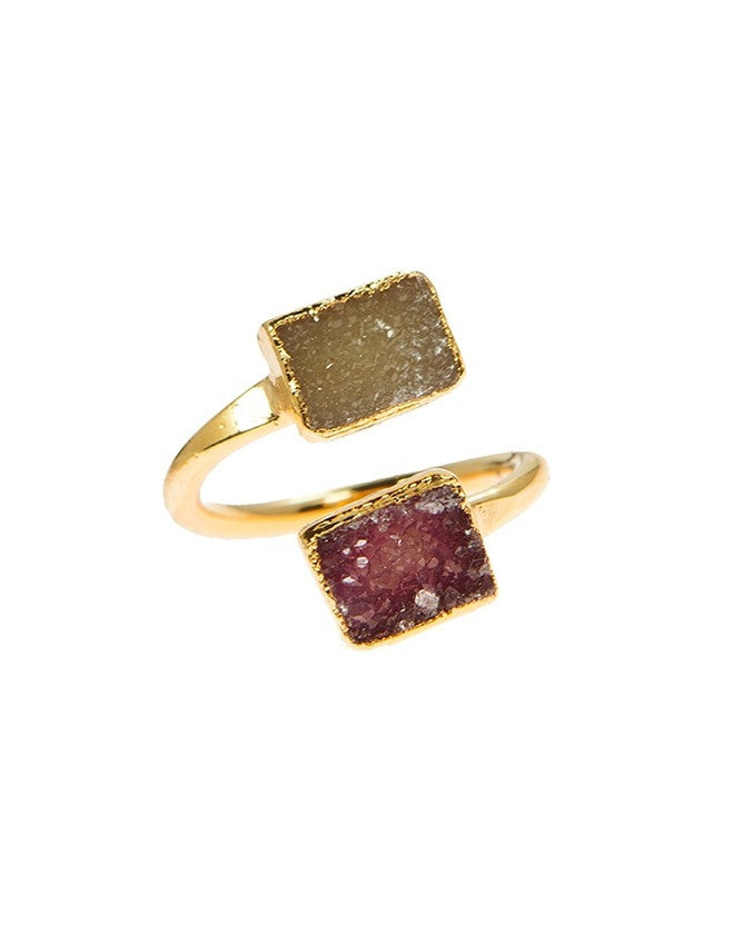 RGD-M2-CH-FU Double Druzy Adjustable Ring Charlene K Jewelry