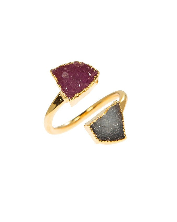 RGD-M2-GY-FU Double Druzy Adjustable Ring Charlene K Jewelry
