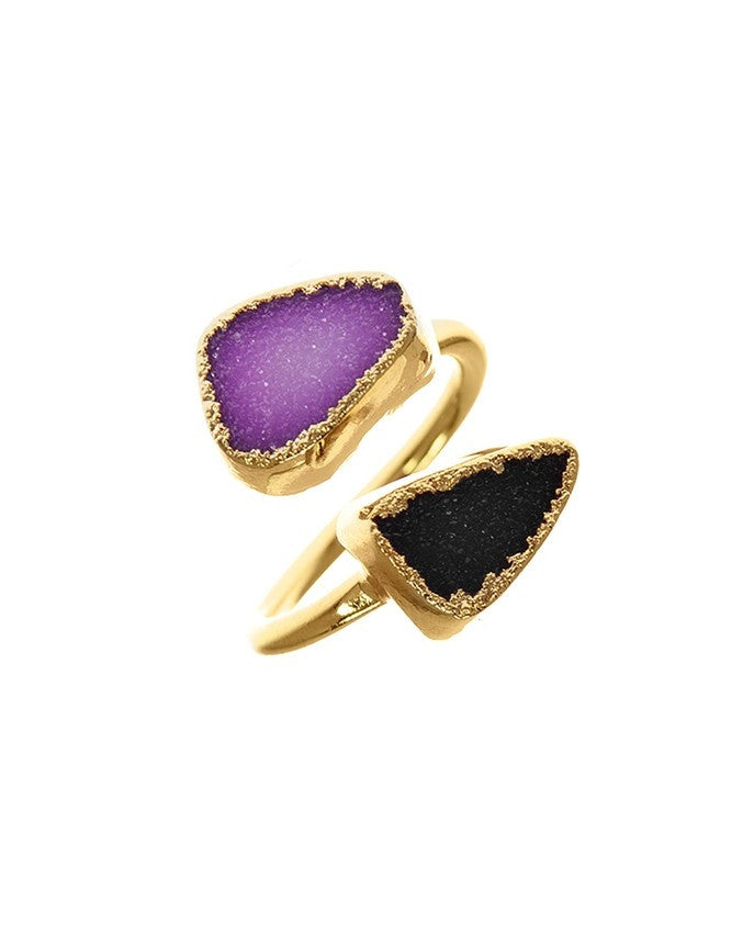 RGD-M2-PU-BK Double Druzy Adjustable Ring Charlene K Jewelry
