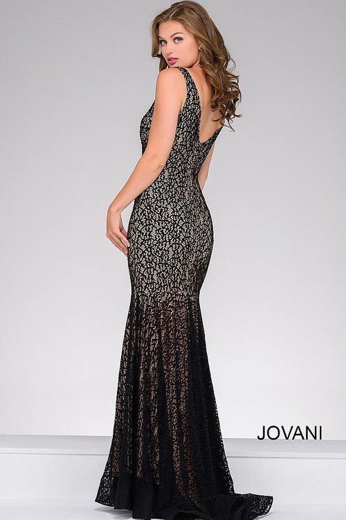 JOVANI 42784 LACE FITTED V NECK PROM DRESS