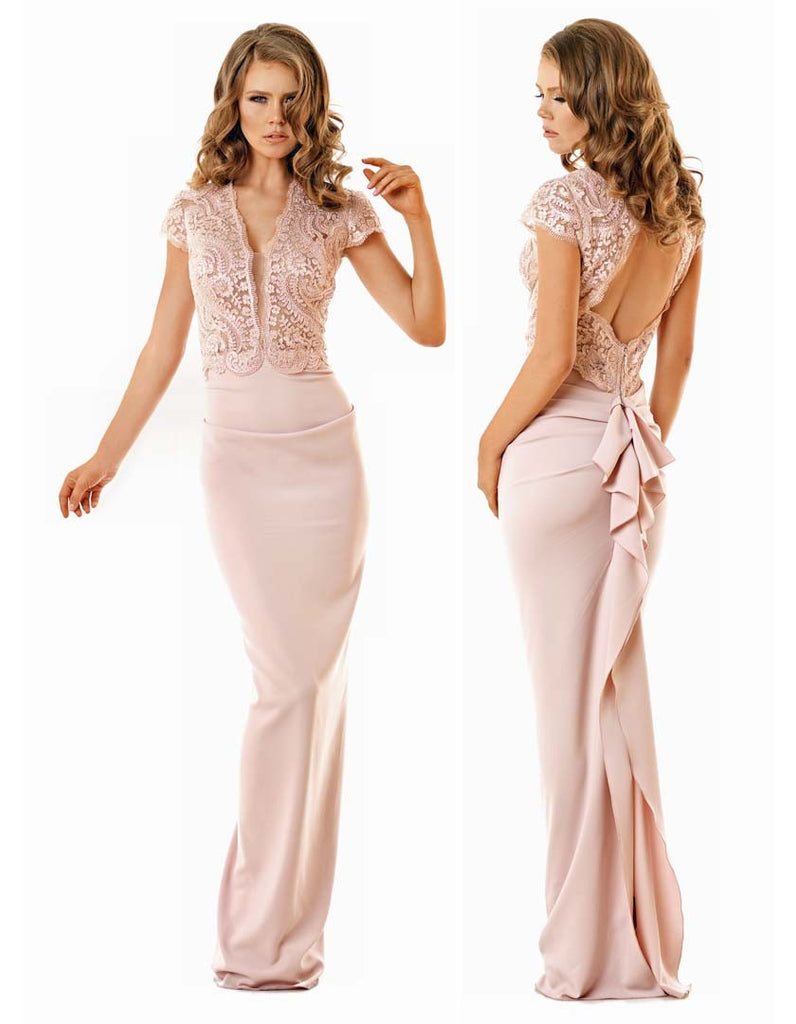 Nicole Bakti Shoulder embellished Open Back Ruffled Back Gown