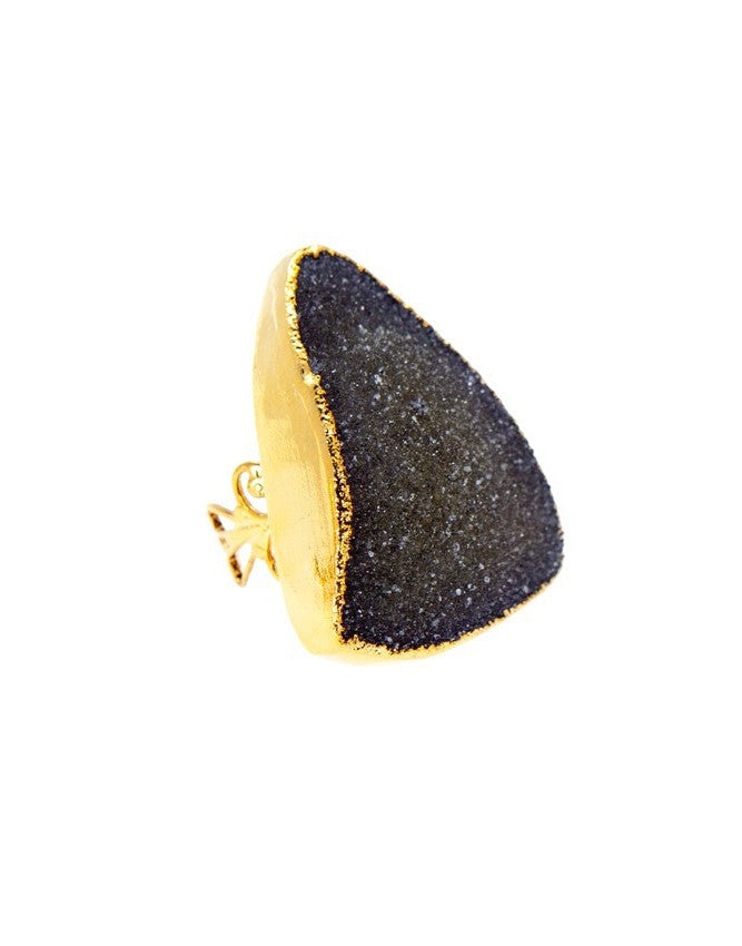 RGD-TR-XL-BK Large Druzy Ring Charlene K Jewelry