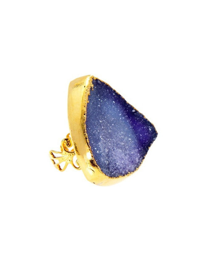 RGD-TR-XL-BL Large Druzy Ring Charlene K Jewelry