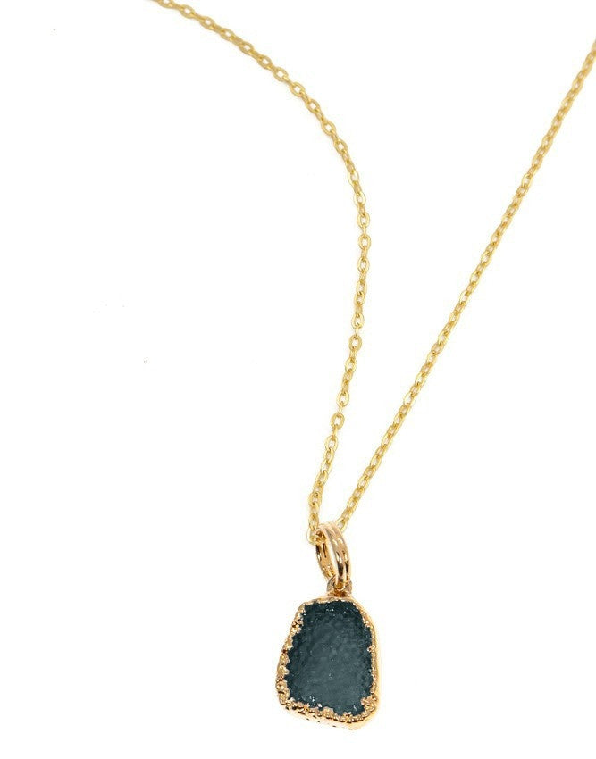 PGD-M-TEAL Medium Druzy Pendant Charlene K Jewelry