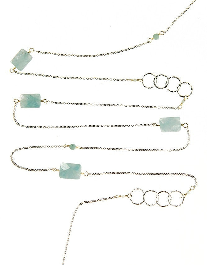 NLG61-AQ Gem Long Necklace Charlene K Jewelry