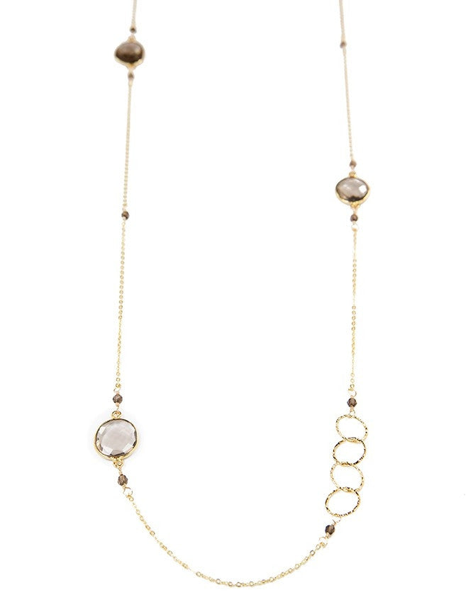 NLGQ-L-SQ Gold Trim Gem Long Neck Charlene K Jewelry
