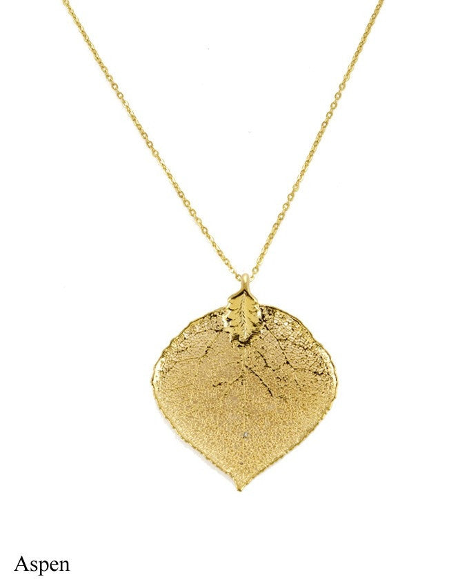 PL-AS Real Leaf - Gold & Silver Pendant Charlene K Jewelry