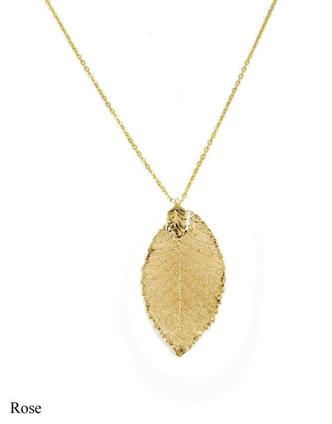 PL-RO Real Leaf - Gold & Silver Pendant Charlene K Jewelry