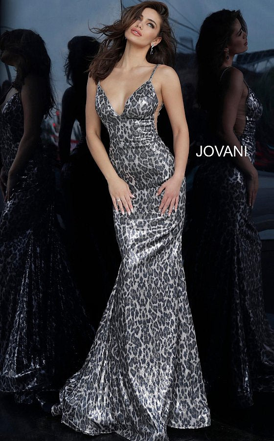 Jovani 4087 Animal Print Backless Prom Dress