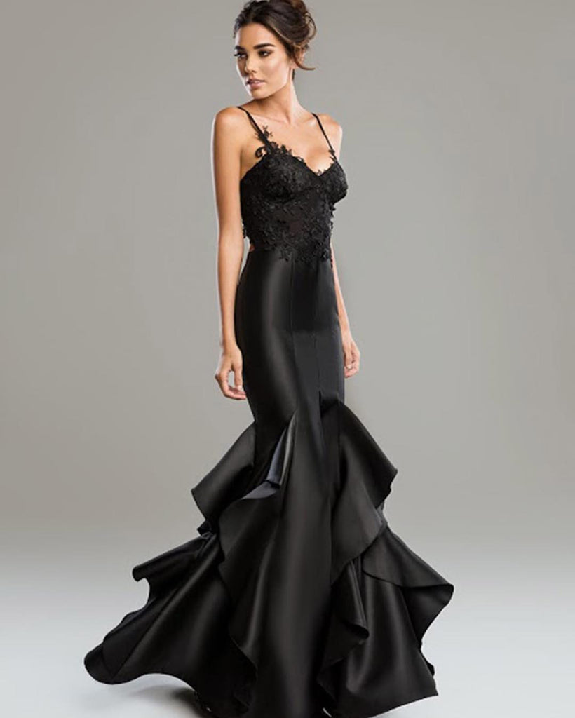 Fitted Black Mermaid Nicole Bakti Gown