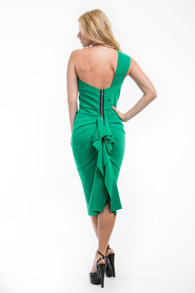 332 Emerald One Shoulder Nicole Bakti Dress