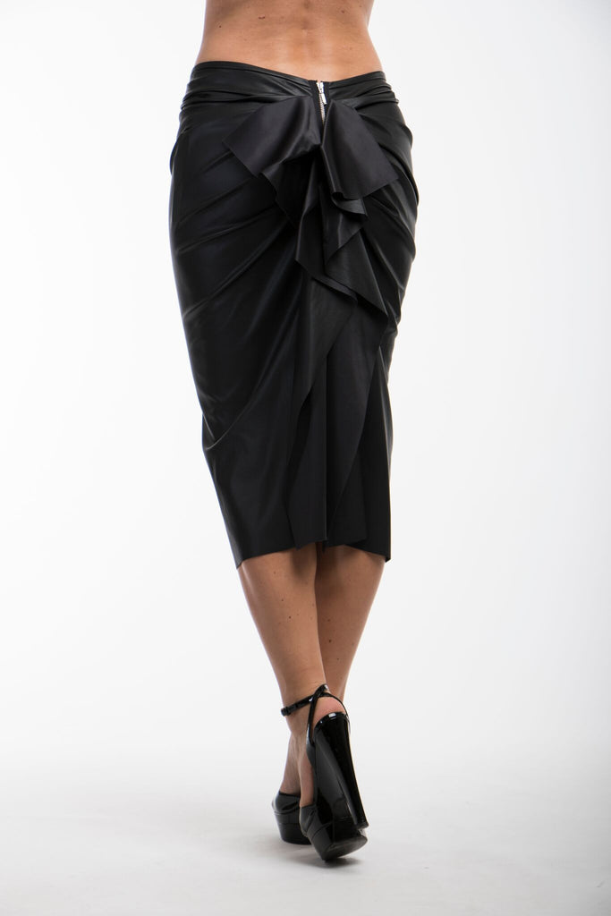 Faux Leather Nicole Bakti Ruffle Back Skirt