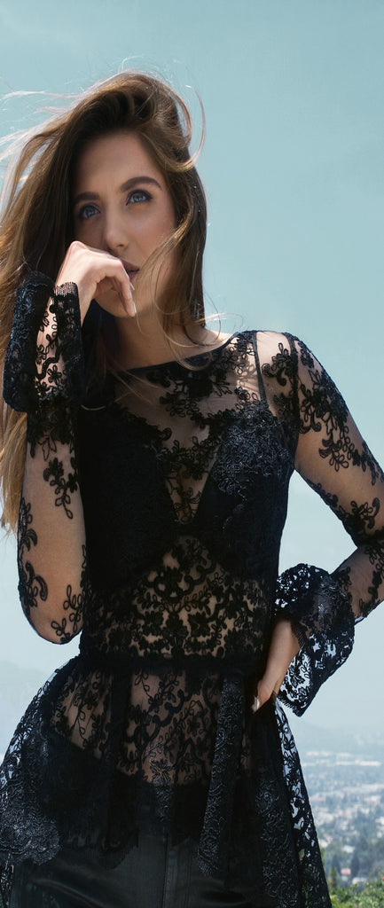 Nicole Bakti 557 Black Lace Top