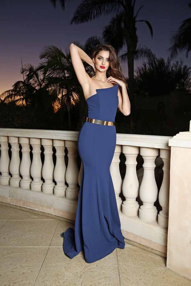 Royal Blue Fitted Mermaid Nicole Bakti Gown