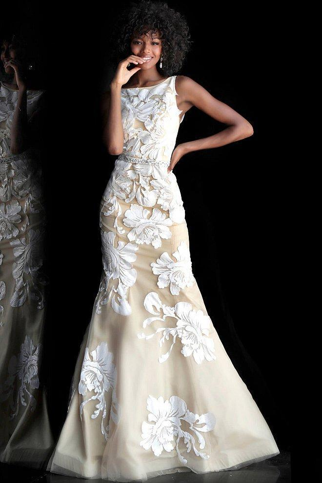 Floral Embellished Bateau Mermaid Jovani Dress 61962