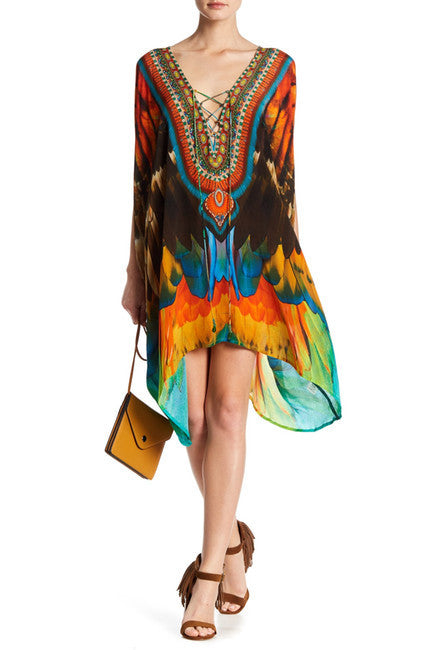 Macaw Parrot Shahida Parides Kaftan Dress