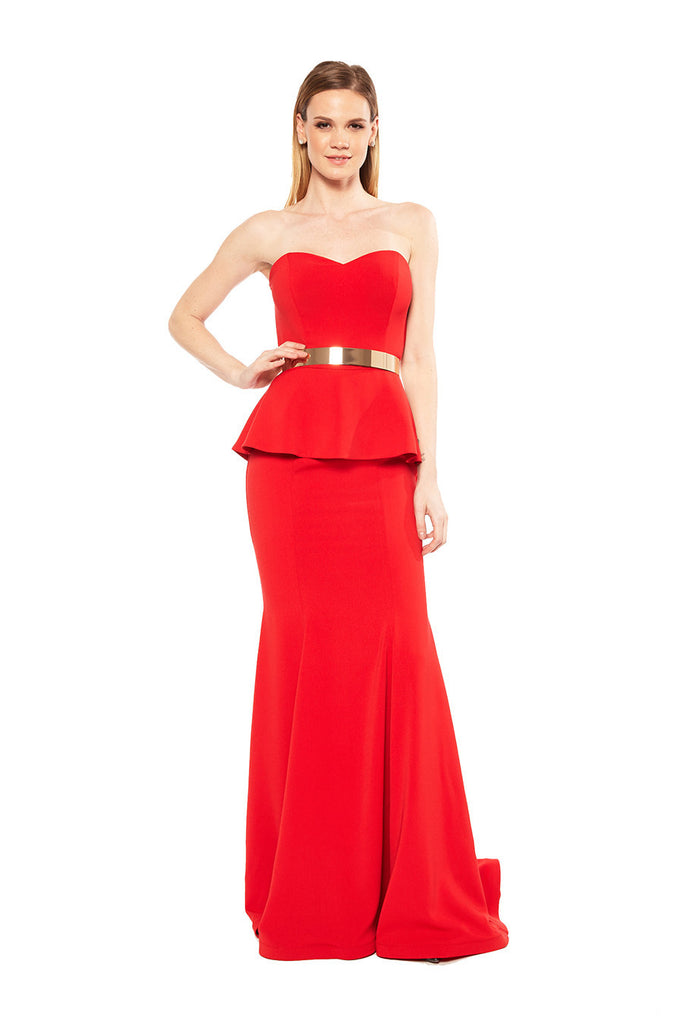 Nicole Bakti Strapless Formal Gown